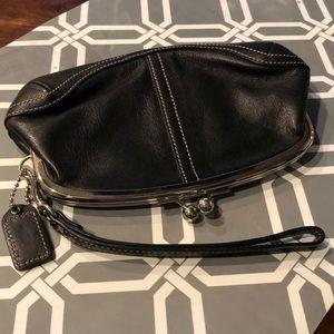 Coach Kiss closure Black Leather Pouch.  Wristlet